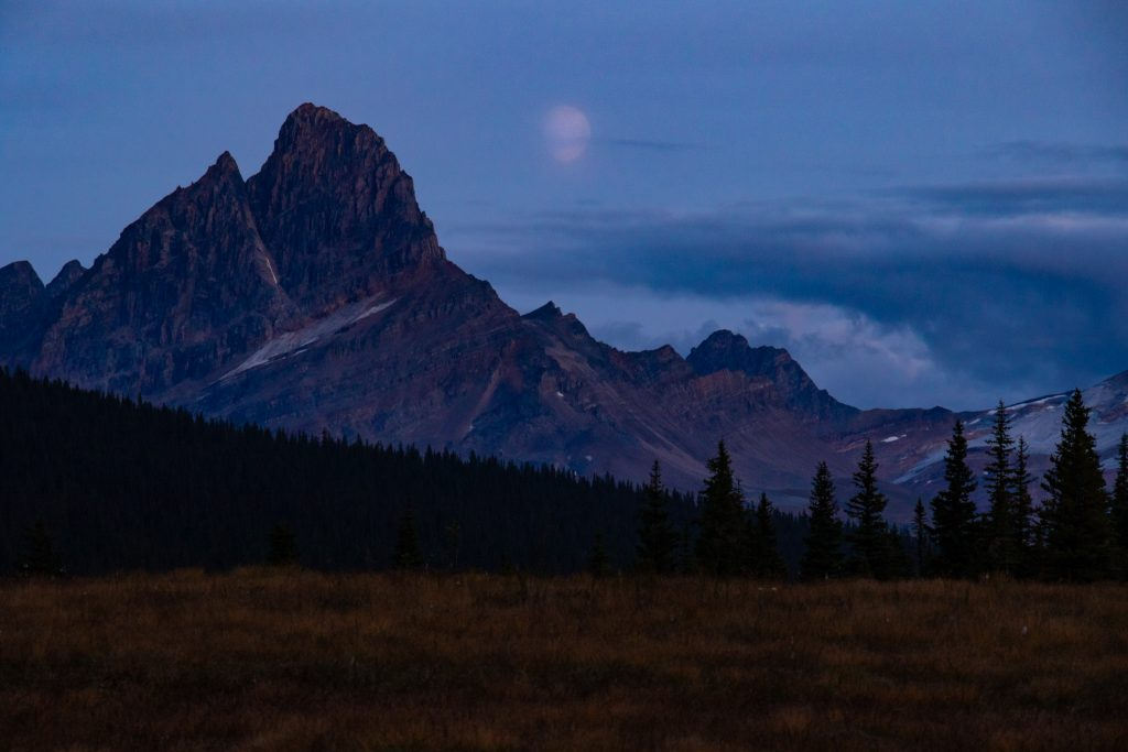 tonquin valley moonrise jasper national park canada