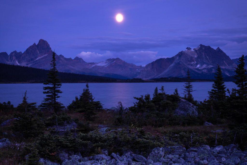 tonquin valley moonrise jasper national park canada