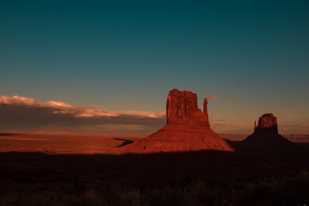 mittens at sunset monument valley